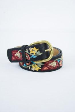 floral embroidered belt black detail