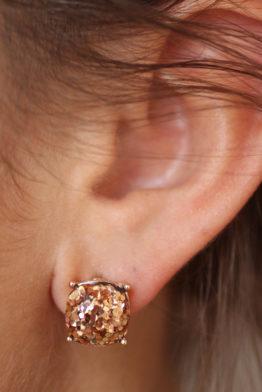 glitter studs rose gold